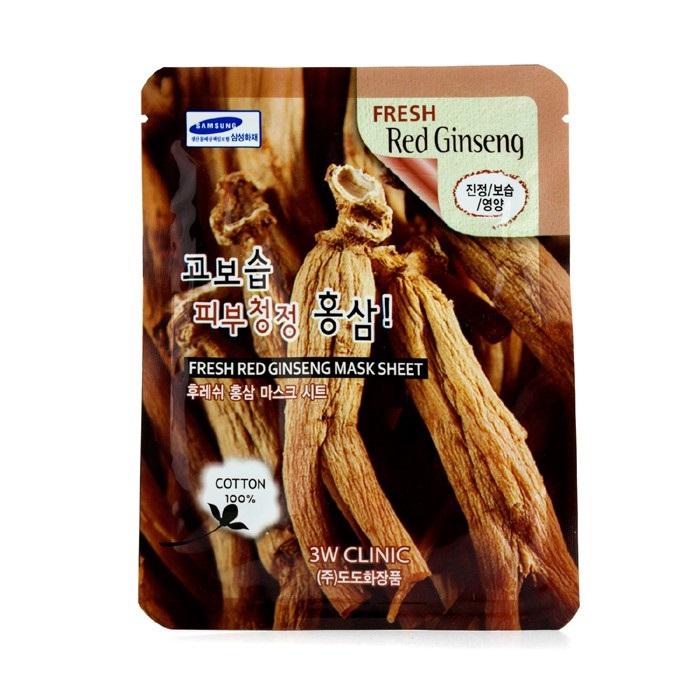 3W Clinic Mask Sheet - Fresh Red Ginseng 10pcs Womens Skin Care