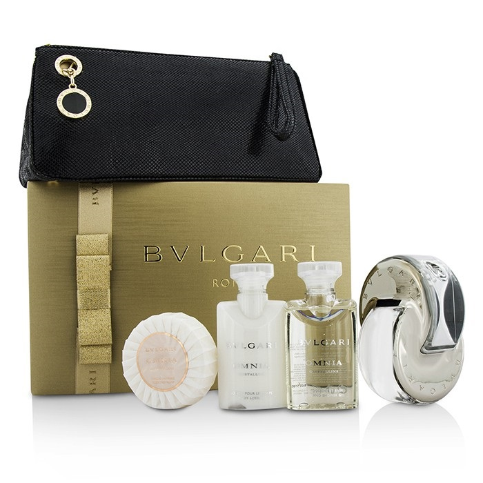 Bvlgari Omnia Crystalline Coffret: EDT Spray 65ml/2.2oz + Body 4pcs+1pouch